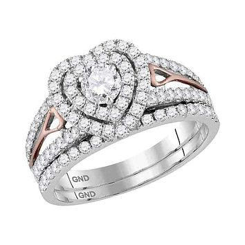 14kt Two-tone Gold Womens Round Diamond Heart Bridal Wedding Engagement Ring Band Set 1-1-5 Cttw
