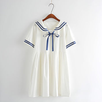 Summer new Women Japanese Sen female line navy wind bow College Wind sweet short-sleeved dress for girls