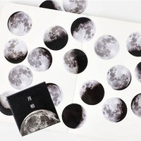 45pcs/box Moon Paper Diary Scrapbooking Label Sticker Moon Phase Calendar Planet