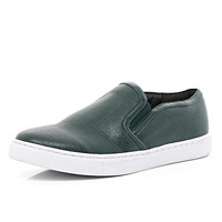River Island Womens Dark green snake plimsolls