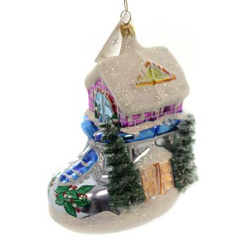 Christopher Radko WINTER SNOW SHOE SHACK Glass Boot House Christmas 981460 Grey