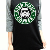 Star wars Coffee Starbucks Unisex Men Women Black Long Sleeve Baseball Shirt Tshirt Jersey