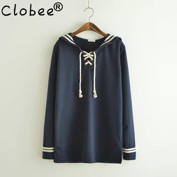 2017 Spring Autumn Japanese Style Cute Sailor Collar Long Sleeve Sailor Pullover Hoodies Women Navy Sweatshirts Knitwear Tops