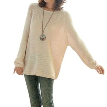 Chuangmei Womens Lady Batwing Sleeve Knit Sweater Loose Casual Pullover Sweaters Beige US 8-16(Asian Regular Size)