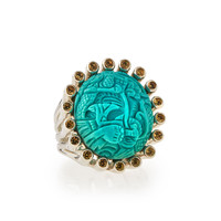 Carved Turquoise & Yellow Sapphire Ring - Stephen Dweck