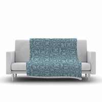 "Maike Thoma ""Layered Circles Design"" Blue Floral Fleece Throw Blanket"