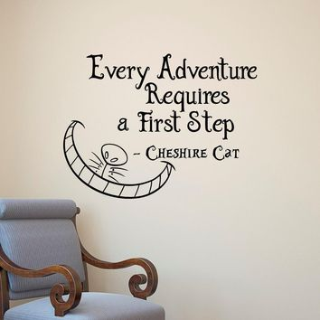 Alice In Wonderland Famous Saying Every Adventure Requires Quotes Wall Decal Vinyl Wall Mural For Baby Bedroom Art Decor D-314