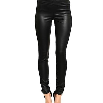 Black Leather Like Pants