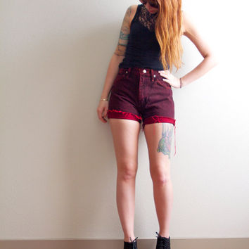 High Waisted Wrangler Hipster Red Acid Wash Cut Off Shorts XS Small 25