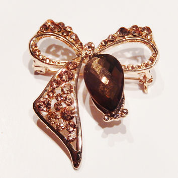 18K Yellow Gold Filled Brown Crystals Bow Pin Brooch