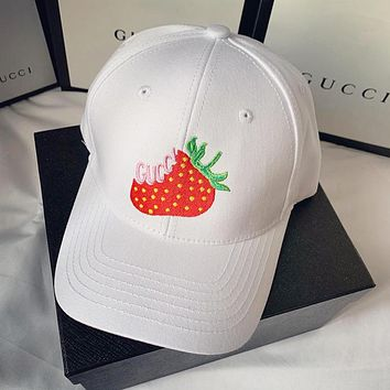 GUCCI Summer Newest Women Men Strawberry Embroidery Sports Sun Hat Baseball Cap Hat White