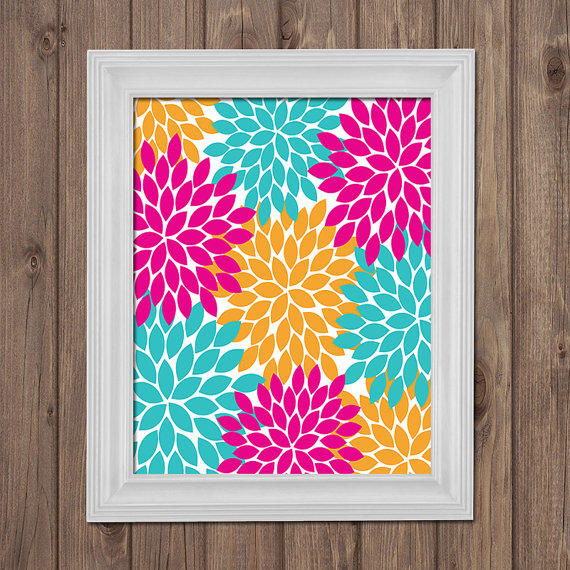 Hot Pink Turquoise Orange Flower Wall Art From TRM Design