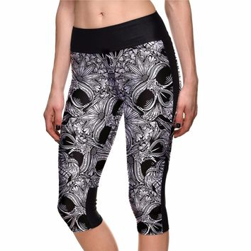 2017 New Halloween Grey Fitness Sports Capris S To 4xl Plus Size Women Running Yoga Sports Pants