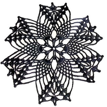 Small Hexagon Black Crochet Doily 7 inches, Country Style Home Decor