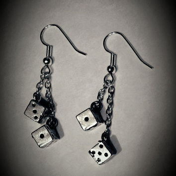 Pair of dice earrings, casino charm, dangle earrings, gambling dice, lucky charms