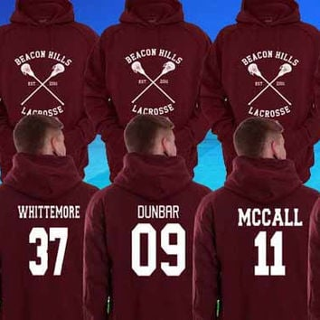 Hoodie Teen Wolf Beacon Hills Maroon Stilinski 24, Mahealani 06, Mccall 11, Lahey 14,Dunbar 09,Whittemore 37 Unisex Adults Made in by USA