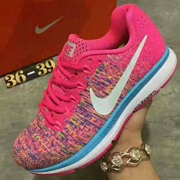 """NIKE"" Sports Knitted jumper wire AIR ZOOM PEGASUS shoes fashion shoes Pink"