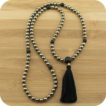 Golden Hematite Mala with Matte Black Onyx