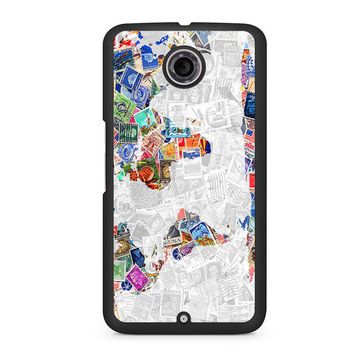 World Map of Stamps Nexus 6 case