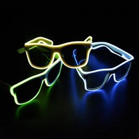 Smart Remote Control Glasses El Wire Fashion Neon LED Light Up Shutter Shaped Glow Rave Costume Party DJ Bright Glasses
