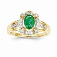 14k Yellow Gold Diamond & Emerald Ring