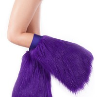 Clubstyle Purple Sparkle Fluffies : Metallic GoGo Fluffy Leg Warmers