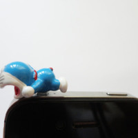 SALE 80-20%OFF: Cute little blue funny cat robot laying  name Doraemon // iPhone Plug . Phone Charm . Phone Plug . Dust Plug