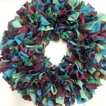 "Small Rag Wreath Multi-Color Homespun Fabric Spring Summer 14""    ONE OF A KIND"