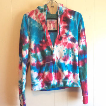 Vibrant Tie Dye Zip Up Hoodie - Pink Turquoise Purple - Size Small