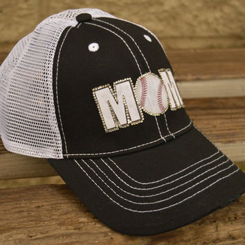 Custom Baseball mom trucker hat with mesh back and personalized with team or school colors