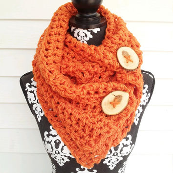 Orange Button Scarf, Bohemian Scarf, Retro, Gypsy Scarf, Hipster, Hippie Scarf,  Vintage Inspired, Chunky Cowl, Christmas in July