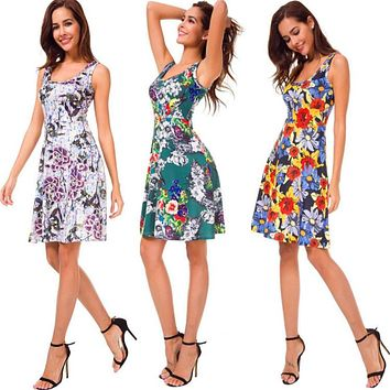Print Scoop High Waist Women Loose A-line Short Dress