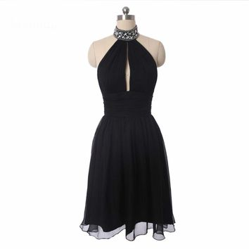 Cocktail Dresses Ever Pretty A line Halter neck Beaded Chiffon Short Summer Style Cocktail Dresses Black