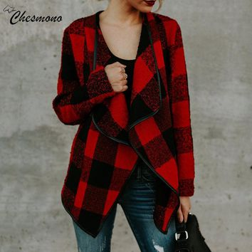 Winter Cardigan Woolen Coat Women Red Khaki Black White Plaid Coat Long Sleeve Female Overcoat Ladies Jacket Outerwear