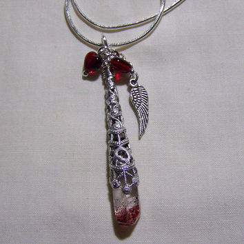 Blood Crystal Filigree Red Hearts Pendant