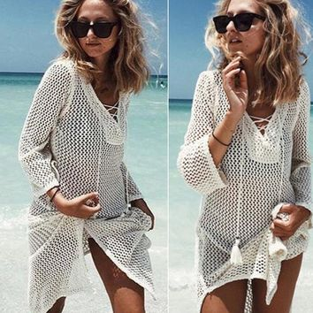 New Sexy Women See Through Perspective Sheer Mesh Fishnet Tee Loose Long Sleeve Tops Beach T Shirt T-Shirts Female Summer F1