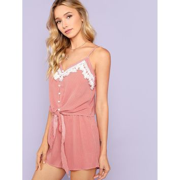Rust Tassel Trim Button Up Cami Top And Shorts Coord