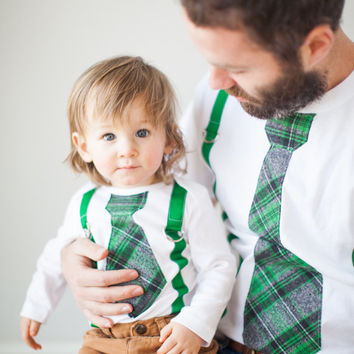 Father's Day Tie & Suspenders Easter Spring Dress Father Son Gift Set. Baby Boy Bodysuit. Green Plaid Gray Black Baby's 1st Birthday Outfit