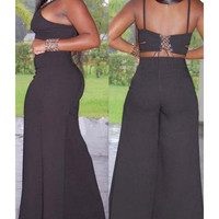 Sexy Solid Color Hollow Out Back Lace-Up Crop Top+Palazzo Pants Twinset For Women