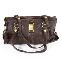 The Sak Brown Leather Bag Carryall Purse Slouch Satchel Tote