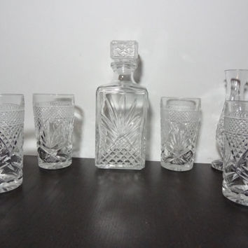 Vintage Clear Glass Liquor Decanter with Matching Set of 4 Glasses and a Bud Vase with Cut Glass Pineapple Design