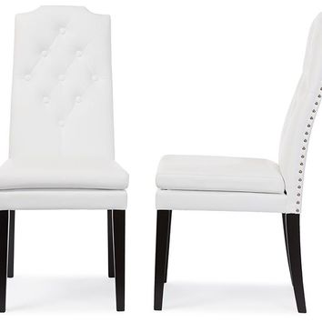 Baxton Studio Dylin Modern and Contemporary White Faux Leather Button-Tufted Nail heads Trim Dining Chair Set of 2