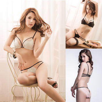 New Women Lady Sexy Lace Underwear G-string Panty Knickers Stylish Vogue Lingerie Briefs Push Up Bra Set