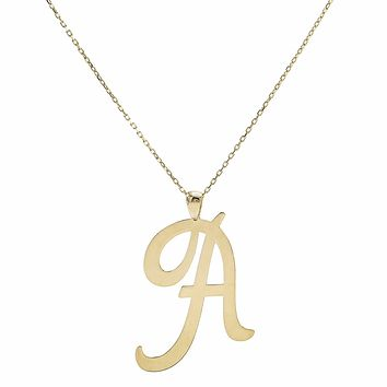 Large Initial Necklace 14K