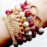 Arm Candy: 6 Piece Crystal Dream Infinity Chain Sideways Fashion Stacked Bracelet Set