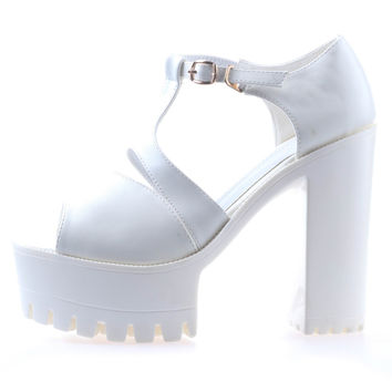 T-Bar Heeled Sandals - White