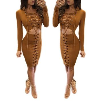 Bodycon Dress 2 Piece Long Sleeve Lace Up Front Party Dresses Sexy Cocktail Party