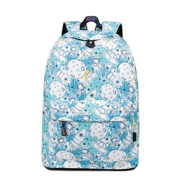 Girls bookbag Casual Women's Backpack Astronaut Pattern Waterproof Laptop Knapsack For Teenager Girls Female Printing Pack Bookbag Mochilas AT_52_3