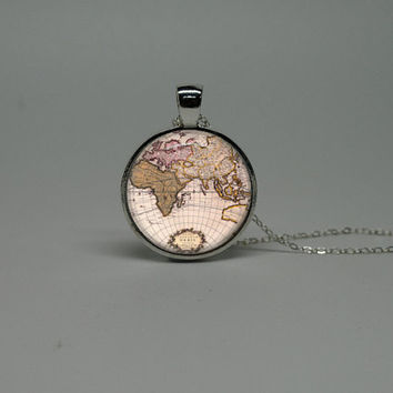 Silver Glass Necklace with Vintage World Globe by cnhbigadventure