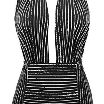 Cocoship Retro One Piece Backless Bather Swimsuit High Waisted Pin Up Swimwear (Sizes: XL, XXL, XXXL)